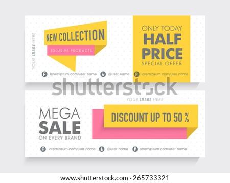 Mega Sale website header or banner set with 50% discount on new coolection.