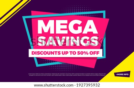 Mega Savings Discounts Up To 50% Off Shopping Background Label