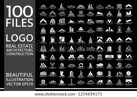 Mega Set and Big Group, Real Estate, Building and Construction Logo Vector Design Eps 10 #1254694171