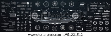 Mega set futuristic HUD, hi-tech elements. Statistics and data, information infographic. Big collection GUI elements for VR, UI design sights, buttons, loading indicators, footnotes. Vector