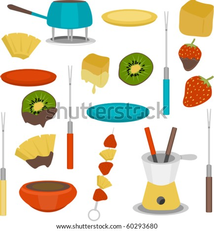 Mega Set! Nineteen total elements included.  This fondue set is perfect for cocktail parites, baby showers, wedding showers and more.  Lots of creative possibilities. - stock vector