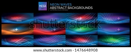 Mega set of blue neon glowing wave backgrounds. Abstract shiny templates with lights effects. Universal vector magic glow wallpapers
