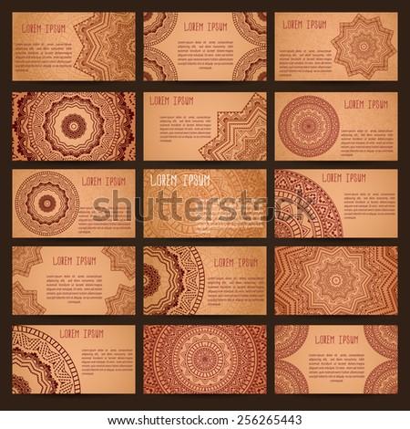 Mega set of business cards samples. Patterns of ancient America. Grunge effect.