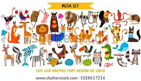 Mega set of cute cartoon animals: wild animals, marina animals.Vector illustration isolated on white background.