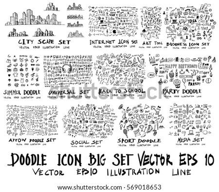 MEGA set of doodles. arrow ,business and finance, social media shopping element, city scape, sport, back to school