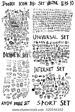 MEGA set of doodles. Super collection of arrow ,business and finance, social media shopping elements. Creative infographic pictograms, sport
