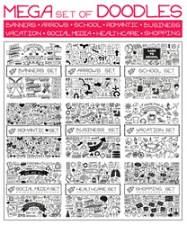 MEGA set of doodles. Super collection of banners, arrows, back to school, romantic love, business and finance, vacation, social media, healthcare and shopping elements. Creative infographic pictograms