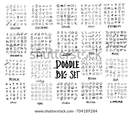 MEGA set of doodles vector. Super collection of travel, electronic ,soccer, spring, fitness, business, media, love, tool, music, media, cooking, meeting, sea, tree, home, school, weather, cinema