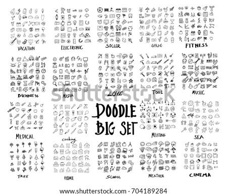mega set of doodles vector