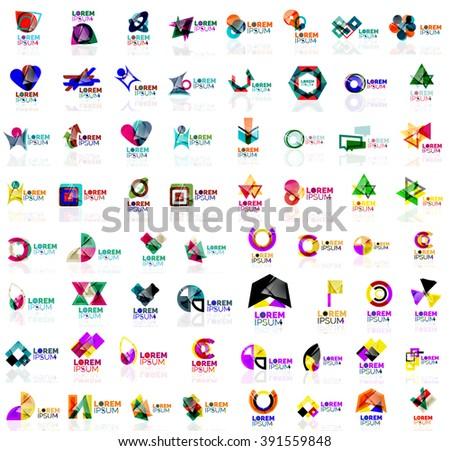 Mega set of geometrical abstract logos. Company universal concept branding identity emblems, symbols, elements