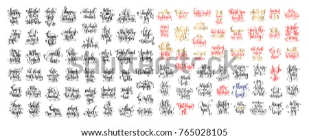 mega set of 100 hand lettering inscription to winter holiday and christmas design, calligraphy vector illustration big collection