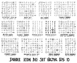MEGA set of icon doodles of Internet, Media , Idea, Contact, Meeting, Travel, Human, Shopping, Finance, Business, Ecology