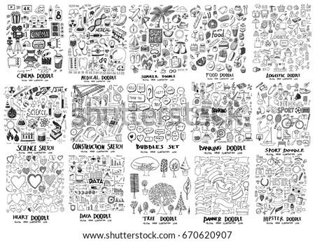 mega set of icon doodles of