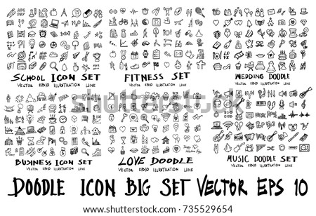 MEGA set of icon doodles of school, fitness, wedding, business, love, music