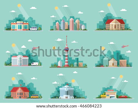 Mega Set of icons for your design. School, Town Hall, the university, hospital, church, TV, city, museum, supermarket, car wash, Bank. Flat style vector illustration.