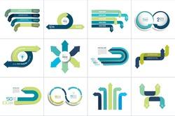Mega set of various arrows infographic concepts.