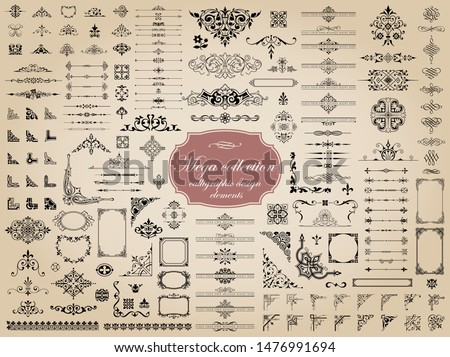 Mega set of vector calligraphic elements for design