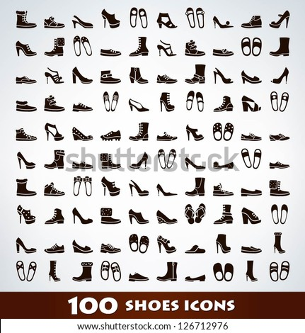 mega shoes icon set