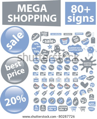 mega shopping buttons, icons, signs, vector