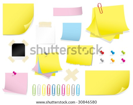 Mega stationery collection - stock vector