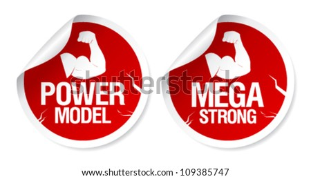Mega strong, power model stickers set.