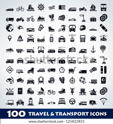 Mega travel and transport icon set