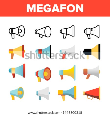 Megafon, Megaphone, Loudspeaker Vector Linear Icons Set. Loud Volume, Noisy Equipment. Broadcasting ,Marketing Information And Speeches Thin Line Design. Telling News Over Megaphone Flat Illustration