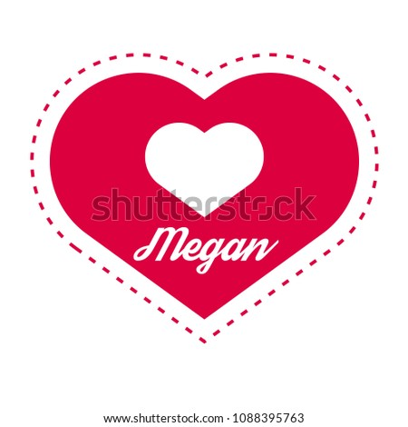 megan woman name with heart
