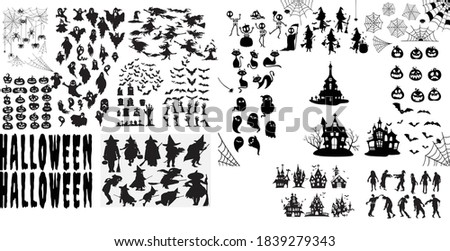 Megapack Collection of halloween silhouettes icon and character, and elements