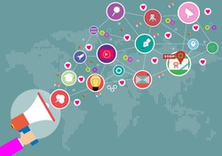Megaphone and social medial icon on World map background. Calling service,contact,technology,love. Vector Social Network and flat design vector concept.