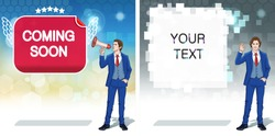 Megaphone announce banner template. Advertisement concept clipart. Business invitation cards. Colorful cartoon characters. Vector illustration.