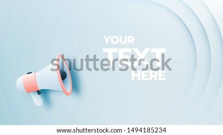 Megaphone announcement with paper art style and pastel color scheme vector illustration