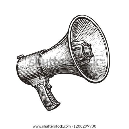 Megaphone, bullhorn sketch. Hand-drawn vintage vector illustration