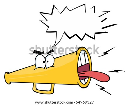 Megaphone Cartoon Character Screaming With Shout Bubble
