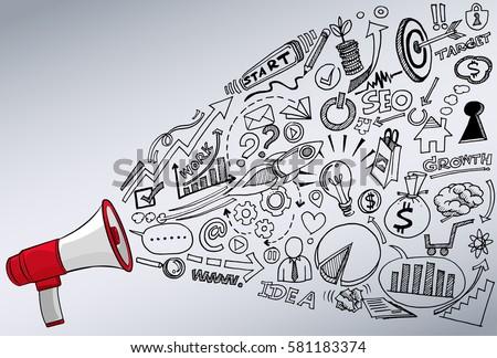 megaphone doodle concept