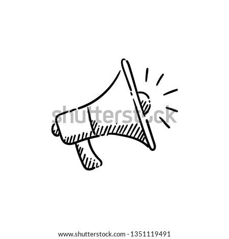 Megaphone doodle illustration, hand drawn loudspeaker icon
