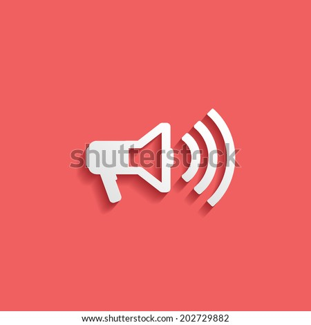 megaphone, flat icon isolated on a red background for your design, vector illustration