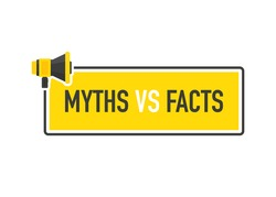 Megaphone geometric yellow banner with MYTHS VS FACTS speech bubble. Flat style. Vector illustration.