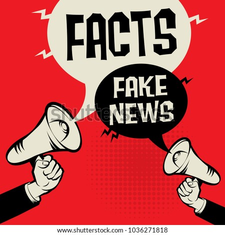 Megaphone Hand business concept with text Facts versus Fake News, vector illustration
