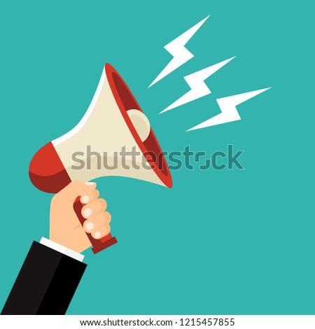 Megaphone in hand . Bullhorn. Vector illustration. Flat design for business financial marketing banking advertising web concept cartoon illustration.