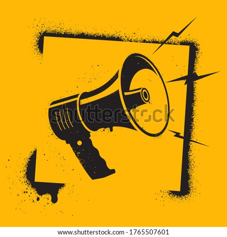 Megaphone in stencil style. Megaphone pictogram - symbol of protest, attention, appeal. Motivational Poster. Call to action. Vector illustration.