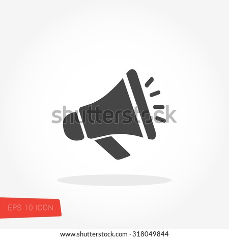 Megaphone Isolated Flat Web Mobile Icon / Vector / Sign / Symbol / Button / Element / Silhouette