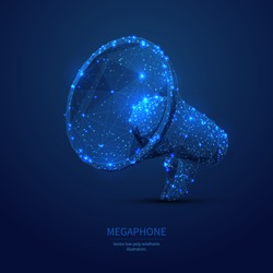 Megaphone. Low poly wireframe marketing blue background or concept with hand loudspeaker. Vector illustration. Online or digital marketing. Abstract polygonal image of speaker like as starry sky.