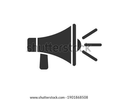 Megaphone music flat style icon shape symbol. Voice sound speech logo silhouette sign. Grunge stamp. Vector illustration image. Isolated on white background.