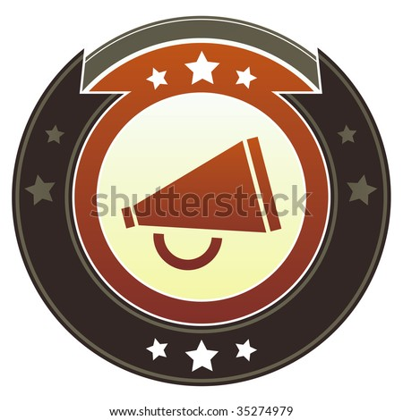 Megaphone or announcement icon on round red and brown imperial vector button with star accents suitable for use on website, in print and promotional materials, and for advertising.