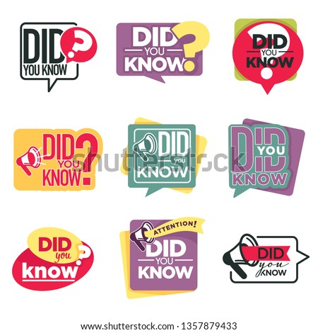 Megaphone or loudspeaker did you know isolated icons attention vector information announcement stickers question or inquiry emblem or logo knowledge marketing and advertisement speech bubbles