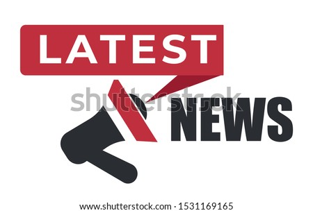 Megaphone or loudspeaker icon with latest news texting above, in red and black graphic style on white background, newsflash streaming, broadcasting, sticker design, graphic flat vector illustration