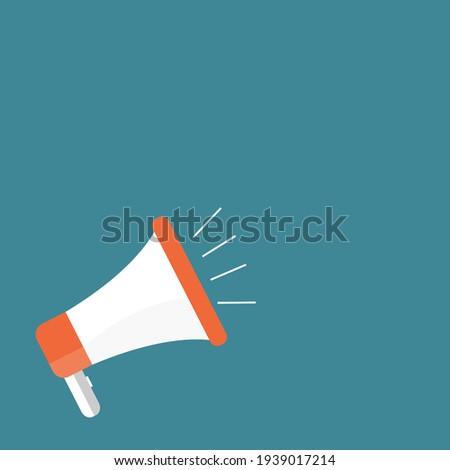 Megaphone or Sound Speaker on Blue Background with Copy Space for Banner,Poster,Flyer, Marketing,Shopping Online,Business. Vector Illustration