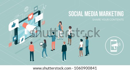 Megaphone sharing advertisement messages on social media on a smartphone, attracting users and new customers: marketing strategies concept