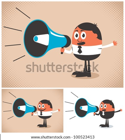 Megaphone Speaker: Man speaking in a megaphone. The illustration is in 3 versions. No transparency and gradients used.